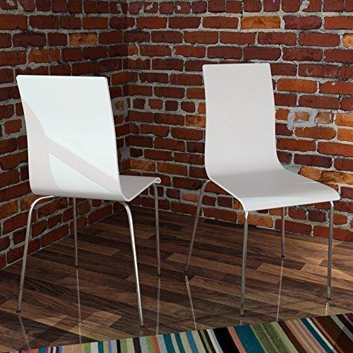 1 Stuhl Designklassiker Stapelstuhl BENSON, weiss, Holz