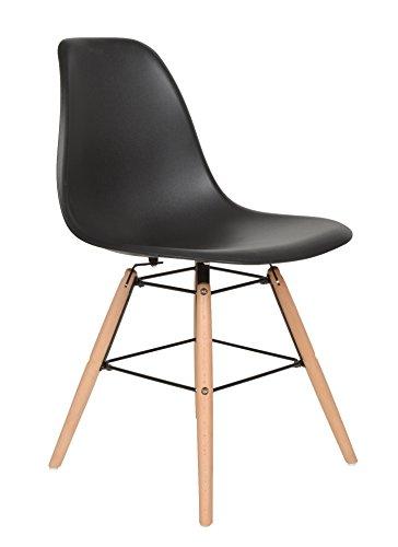 1 x Design Klassiker Stuhl Retro 50er Jahre Barstuhl Küchenstuhl Esszimmer Wohnzimmer Sitz in Schwarz mit Holz