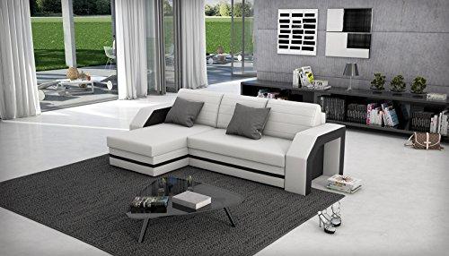 SAM® Ecksofa ACAPULCO weiß schwarzes Ecksofa 145 x 266 cm in futurisitschem Design mit einer pflegeleichten Oberfläche