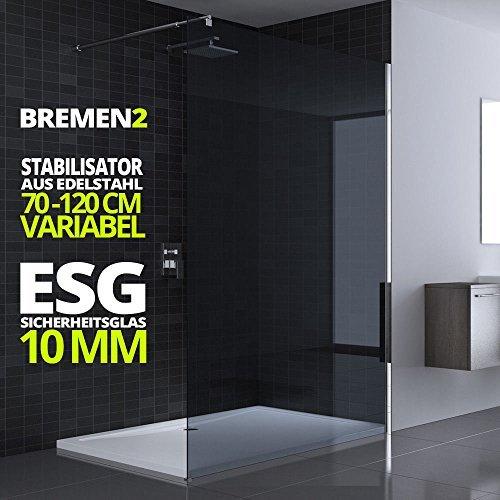 100x200 cm Luxus Duschwand aus Echtglas Bremen2VG, Stabilisator rechteckig, 10mm ESG Sicherheitsglas Dunkelgrau, inkl. Nanobeschichtung