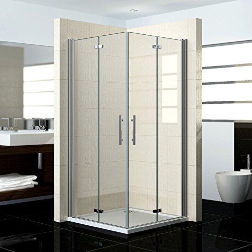 100x80x195cm Duschkabine Duschabtrennung Eckeinstieg Duschtür Duschwand Falttür Echtglas (HP10-2 V2+HP80-2 V2)