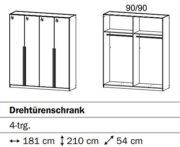 Rauch Kleiderschrank 4-türig mit Stangengriffen Front: Hochglanz weiß Breite 181 cm Drehtürenschrank 2