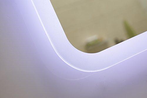Dr. Fleischmann modernes Lichtspiegel Wandspiegel Badspiegel GS045N mit LED-Beleuchtung IP44 (80 x 60cm, kaltweiß)