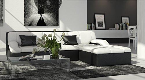 SAM® Stilvolles Ecksofa Rosella in weiß-schwarz Sofa in 240 x 200 cm designed by Ricardo Paolo® pflegeleichte Oberfläche angenehmer Sitzkomfort