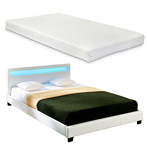 Corium LED Polsterbett (Paris) mit Matratze (140x200cm)(weiss)(Kaltschaum) - mit Kunst - Leder / Kunstlederbezug / RGB - Beleuchtung / mit Stecklattenrost /