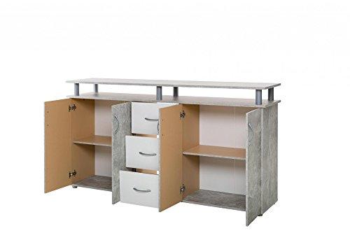 Inter Trade Corporation Nevada Spieß 4Türen 3Schubladen, Holz, Beton strukturierten, 155x 35x 83cm
