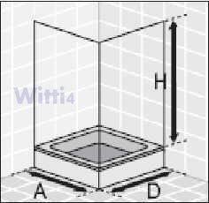 Eckeinstieg Duschkabine Kunststoffglas Tropfendekor Silberne Profile 75x75 75x80 75x90 90x75 80x75