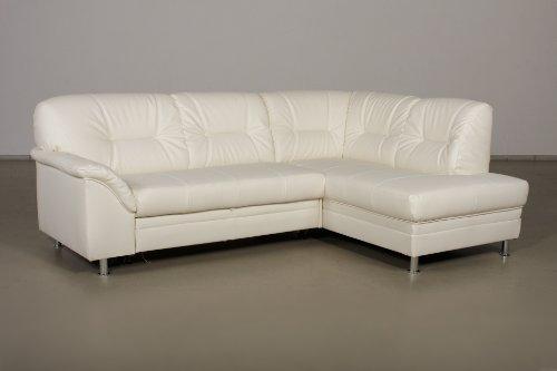 Cavadore 187 Polsterecke Lorcano 2-er Bett Ottomane mit Bettkasten, 237 x 89 x 168 cm, Poroflex softy weiß