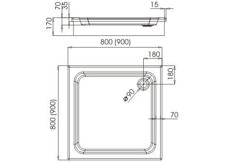 aquabad duschwanne duschtasse mit styroportr ger zum befliesen quadratisch 80x80x17 cm 1 m bel24. Black Bedroom Furniture Sets. Home Design Ideas