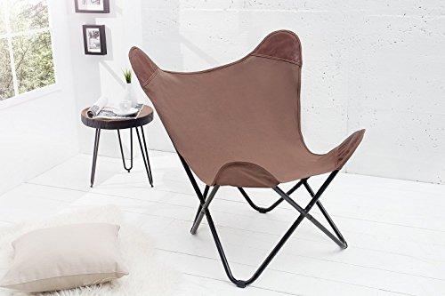 DuNord Design Sessel Stuhl TEXAS braun Leinen Loungesessel Esszimmer Butterfly Klappstuhl