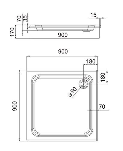 AQUABAD® Duschwanne Comfort Forta 90x90cm Quadrat zum befliesen