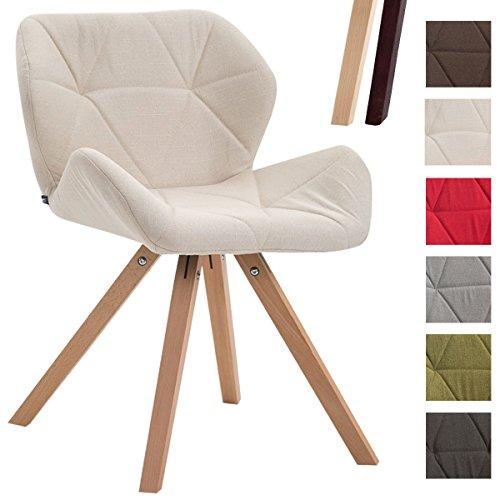 CLP Design Retro-Stuhl TYLER, Bein-Form square, Stoff-Sitz gepolstert, Buchenholz-Gestell, Creme, Gestellfarbe: Natura