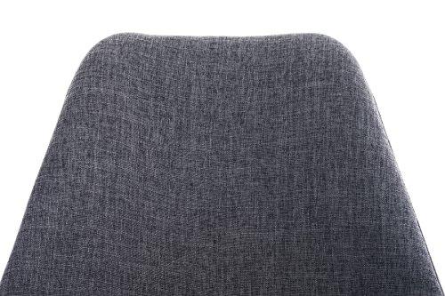 CLP Design Stuhl PEGLEG mit Stoff-Bezug, Retro Design, Esszimmer-Stuhl gepolstert, Sitzhöhe 46 cm Hellgrau, Holzgestell natura