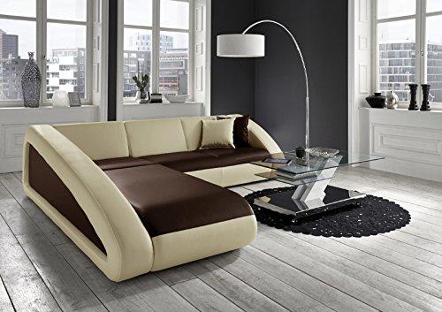 SAM® Sofa Garnitur Ecksofa in braun / creme / creme CIAO 250 x 270 cm Ottomane links Couch exklusive Design Couchgsrnitur pflegeleicht