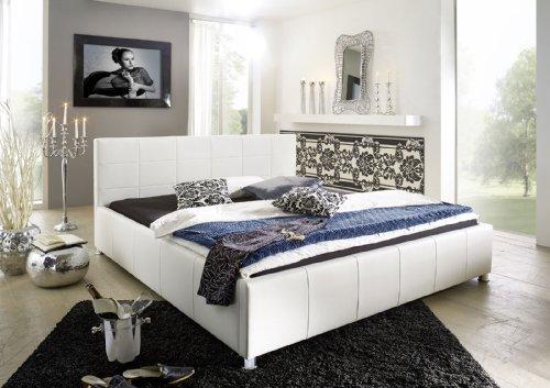 SAM Polsterbett 100x200 cm, Katja, weiß, Bett aus Kunstleder, abgestepptes Kopfteil, stilvolle Chromfüße, als Wasserbett geeignet
