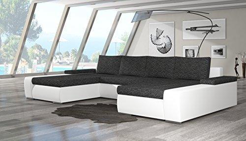 """Modernes Eck-Sofa """"Marino"""" mit Bett-Funktion. Couch mit robustem Kunst-Leder und Webstoff-Bezug sowie komfortabler Wellenunterfederung. Zeitlose Wohnlandschaft. (Farbänderung 99€)"""