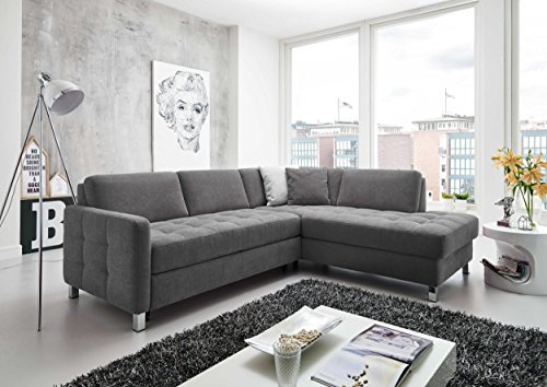 Cavadore 5900984019560 Polsterecke Ecksofa, Schaumstoff, grau, 233 x 196 x 80 cm