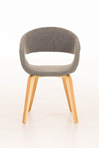 CLP Besucher-Stuhl PANO mit Armlehne, gepolstert, Holzgestell, modern Hellgrau