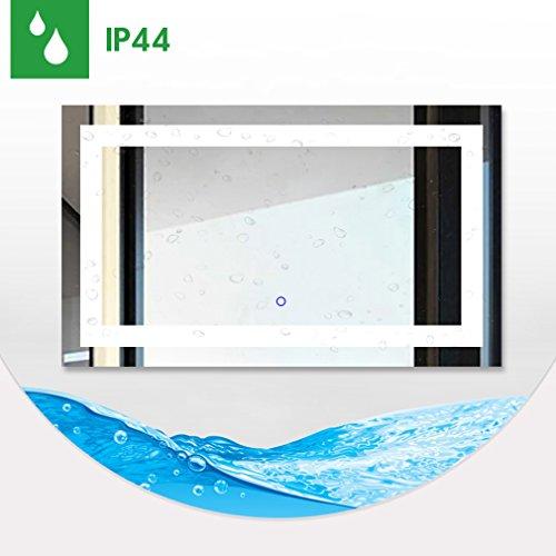 Tonffi badspiegel 100x60cm led spiegelleuchte 6000k wei 25w 5000lm touch schalter ip44 smd2835 - Badspiegel led touch ...