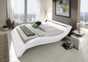 SAM LED-Polsterbett 160x200 cm Look, weiß, Bett aus Kunstleder, LED - Beleuchtung im Kopfteil, geschwungene Optik, als Wasserbett geeignet 1