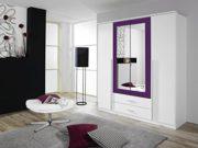Rauch Kleiderschrank mit Spiegel 4-türig Weiß Alpin, Absetzung Brombeer Nachbildung, BxHxT 181x199x56 cm 1