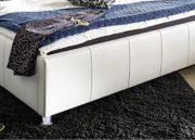 SAM Polsterbett 100x200 cm, Katja, weiß, Bett aus Kunstleder, abgestepptes Kopfteil, stilvolle Chromfüße, als Wasserbett geeignet 1