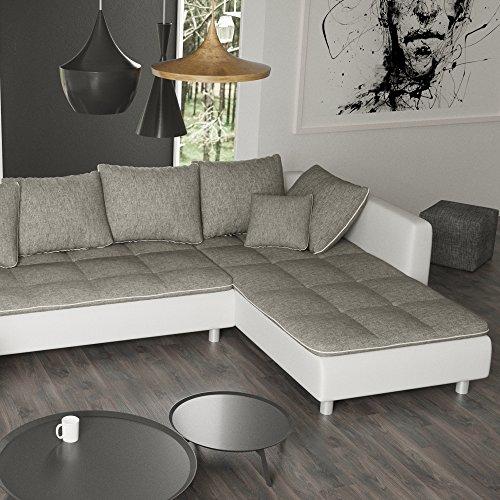 Sofa Polsterecke Vivara Weiß/ Strukturstoff Grau - Ecksofa von Jalano Wohnlandschaft U-Form Couch Garnitur mit Kissen