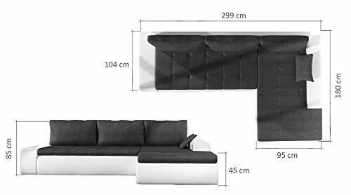 Ecksofa OSAKA IV mit Schlaffunktion Sofa Couch Schlafsofa Polsterecke Bettfunktion (ottomane links, kunstleder weiß / stoff INARI 91)