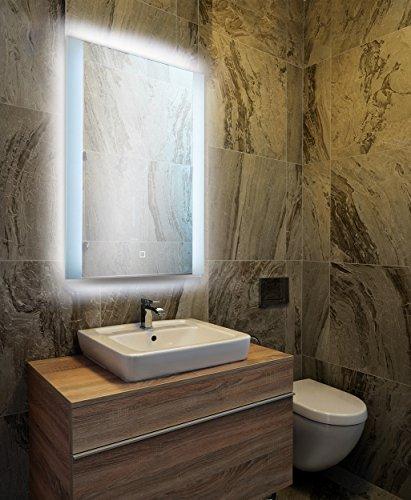 KROLLMANN Spiegel mit Beleuchtung 50x70cm LED Badspiegel beleuchtet [Energieklasse A+]
