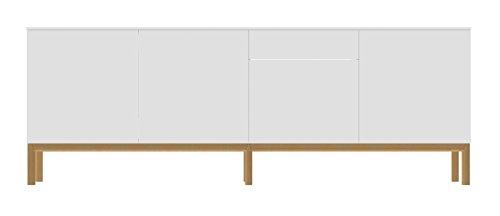 Tenzo 2285-001 Patch Designer Sideboard, lackiert, Matt, Untergestell massiv, 85 x 238,5 x 47 cm, weiß / eiche