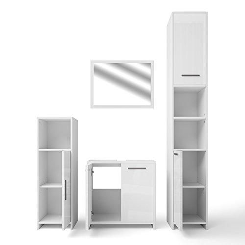 VICCO Badmöbel Set KIKO Weiß Hochglanz / Grau Beton - Badspiegel + Unterschrank + Bad Hochschrank + Bad Midischrank (Weiß Hochglanz, Set 4)