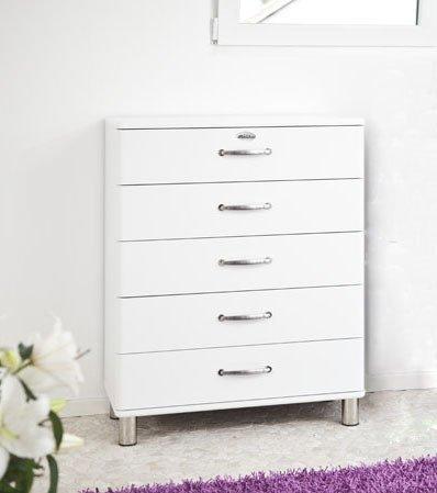 Kommode Malibu 5295 mit 5 Schubladen in weiß Sideboard von Tenzo