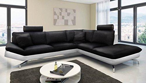 SAM® Ecksofa Boavista in schwarz - weiß Sofa 276 x 220 cm pflegeleichte Oberfläche modernes Design Aluminiumfüße Kopfstütze optional anbringbar