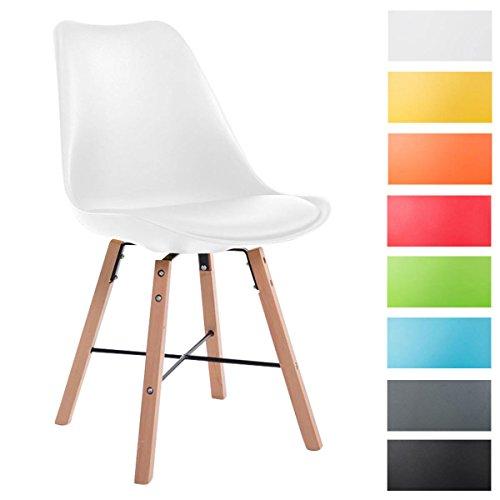 CLP Design Retro Stuhl LAFFONT, Sitz Kunststoff / Kunstleder Weiß, Holzgestell Farbe natura