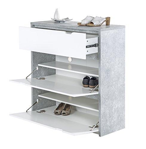 Phoenix Bruno Schuhschrank 1 Schublade und 2 Klapptüren, Holz, Beton, Weiss, 38 x 100 x 105.7 cm