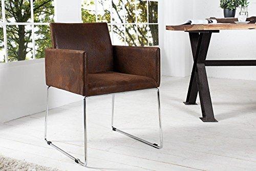 DuNord Design Stuhl Esszimmerstuhl MARCO Microfaser antik braun Vintage Design Küchenstuhl