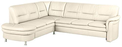 Cavadore 5034 Wohnlandschaft Cassada, Abschlusselement 2-sitzig mit Schublade links-Spitzecke, Relaxfunktion 3-er Bett rechts, 265 x 90 x 240 cm, Leder Punch altweiß