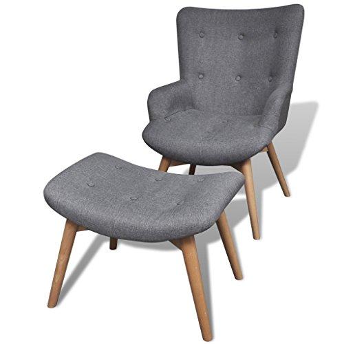 gepolsterter sessel mit hocker grau m bel24. Black Bedroom Furniture Sets. Home Design Ideas