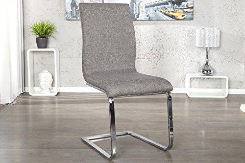 DuNord Design Stuhl Freischwinger RIVIERA 4er Set Esszimmerstuhl Strukturstoff grau Chrom