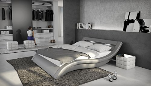 Polsterbett 180x200 cm grau aus Kunstleder mit LED-Beleuchtung | Loox | Designer-Doppelbett in Leder-Optik made in EU
