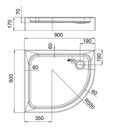 AQUABAD® Duschwanne Comfort Forta Plus 80x90cm R55 Viertelkreis Asymmetrisch Linksversion