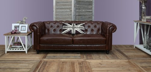 AC Design Furniture 43699 Chesterfieldsofa Henning 3-Sitzer, circa 219 x 78 x 88 cm, Bezug Bycast-Leder braun