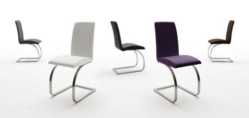 123-mauiEP 2-er-Set Stuhl, Esszimmerstuhl, Schwinger, Freischwinger, Schwingstuhl, schwarz, weiss, braun, grau violett (weiss)