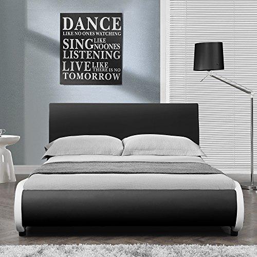 """Polsterbett """"Nizza"""" 140x200cm von Corium® – Doppelbett / Ehebett aus PU-Kunstleder Kunstlederbezug mit Stecklattenrost im modernen Design – Bett-Farbe: schwarz"""