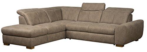 Cavadore 5129 Polsterecke Bules, Abschlusselement 1-sitzig links, Spitzecke, 3-Sitzer mit Kopfteilverstellung rechts, 274 x 81 x 232 cm, Iguana schlamm 03