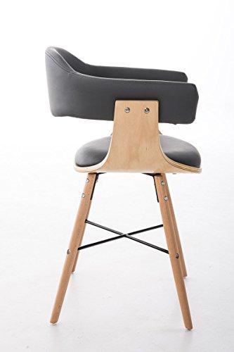 CLP Besucherstuhl BARRIE V2, natura, mit Armlehne, Sitzfläche gut gepolstert, Holzgestell, modern Grau