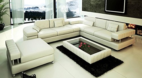 ledersofa sofagarnitur couchgarnitur wei ledercouch 3 sitzer daybed xl hocker ecksofa couch. Black Bedroom Furniture Sets. Home Design Ideas