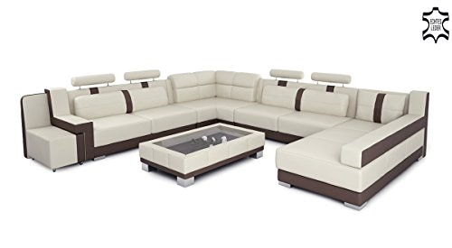 ledersofa ledercouch xxl u form braun wei hamburg m bel24. Black Bedroom Furniture Sets. Home Design Ideas