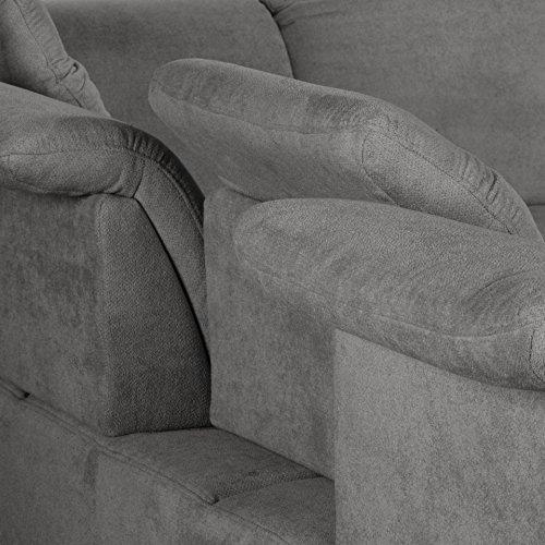 Cavadore Polsterecke Tabagos / Eckcouch mit Ottomane rechts / Moderne Couch mit Sitztiefenverstellung/ Kopfteilverstellung / 283x85-96x248 (B x H x T) / Farbe: Fango (grau)