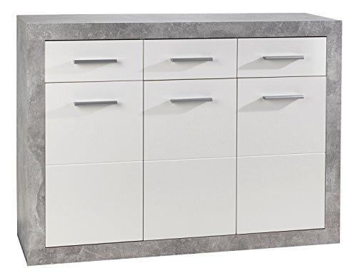 Nicht Zutreffend Sideboard Anrichte Mehrzweckschrank SABRINA 1 | Weiß Hochglanz | Betonoptik | 3 Türen | 3 Schubladen